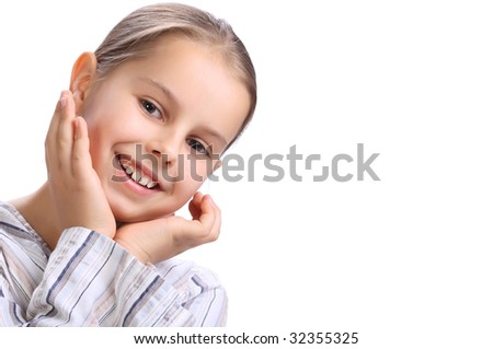 portrait of a  young girl. 10 year old - stock photo
