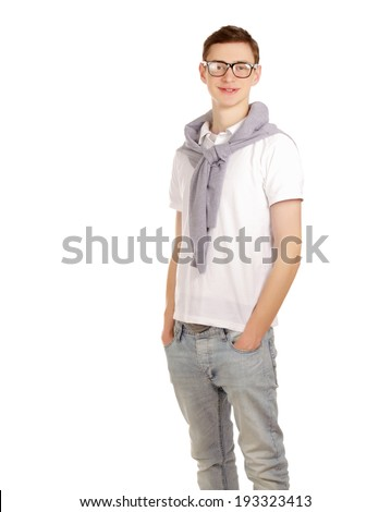 portrait of a young guy , isolated on white background - stock photo
