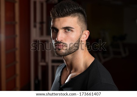 Portrait Of A Young Handsome Man - Handsome Male Model - stock photo
