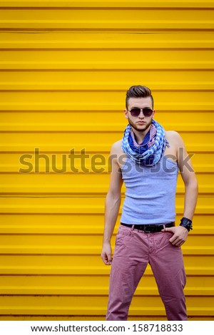 Portrait of a young handsome man, model of fashion - stock photo
