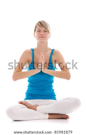 Portrait of a young healthy woman doing yoga exercises, isolated over white background, series photos - stock photo