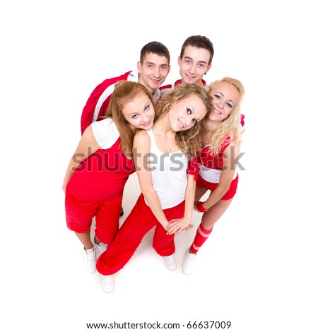 Portrait of a young hip hop dancers standing against isolated white background - stock photo