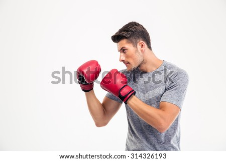 Portrait of a young male boxer isolated on a white background - stock photo