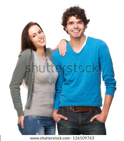 Portrait of a young man and woman smiling together - stock photo