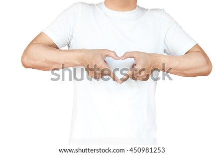 portrait of a young man doing a heart gesture against a white background - stock photo