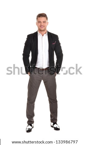 portrait of a young man in a black jacket on a white background - stock photo