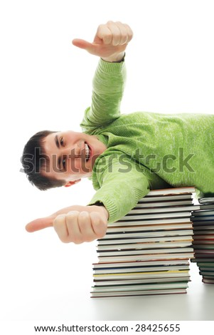 Portrait of a young man in an academic gown. Educational theme. - stock photo