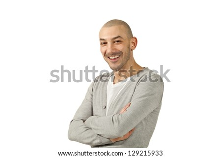portrait of a young man in studio - stock photo