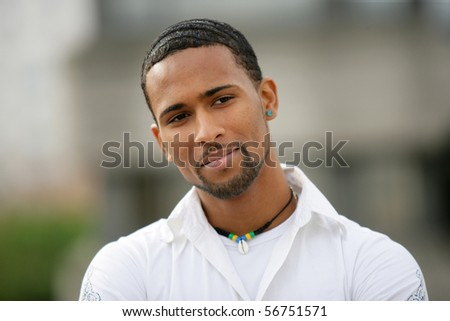 Portrait of a young man pensive - stock photo