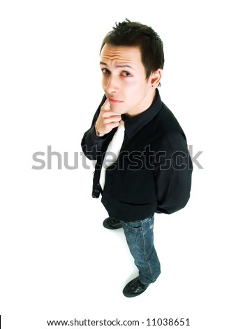 Portrait of a young man thinking - stock photo