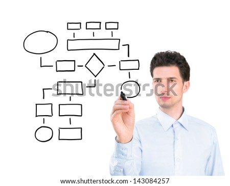 Portrait of a young pensive businessman holding a marker and drawing a blank flowchart. Isolated on white background. - stock photo