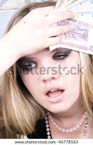 Portrait of a young prostitute with money in bath - stock photo