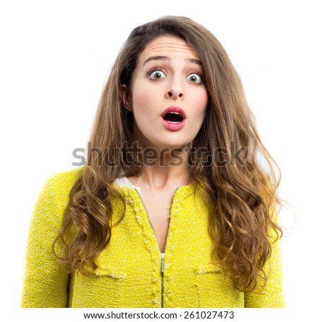 Portrait of a young scared woman - stock photo
