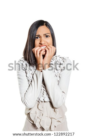 portrait of a young stressed woman. isolated on white background. - stock photo