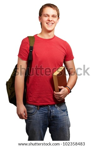 portrait of a young student holding a book and carrying a backpack over a white background - stock photo