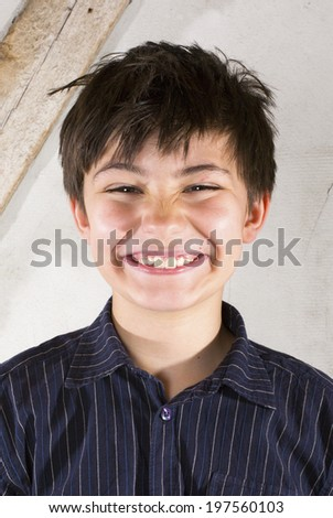 portrait of a young with a big smile - stock photo