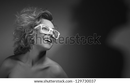 Portrait of a young woman, close up - stock photo