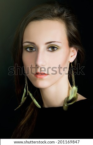 portrait of a young woman in the style of Renaissance painting - stock photo