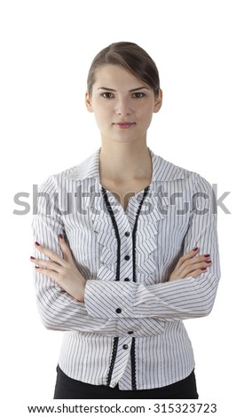 Portrait of a young woman with arms crossed isolated against a white background. - stock photo