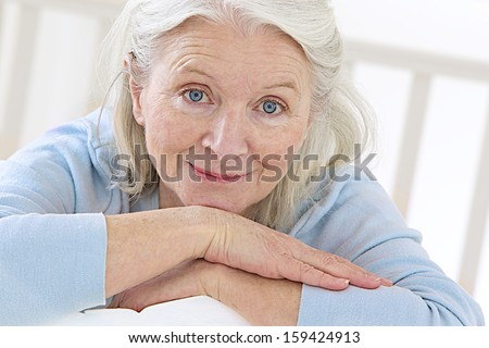 portrait of active senior woman - stock photo