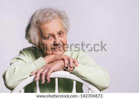 Portrait of Active 91-Year Old Grandmother - stock photo
