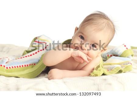 Portrait of adorable baby - stock photo