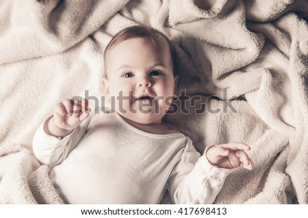 Portrait of adorable baby girl - stock photo