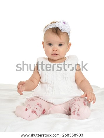 Portrait of adorable baby on white background - stock photo