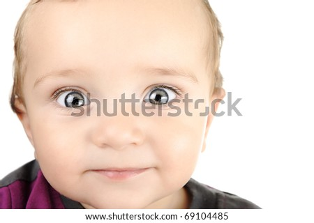 Portrait of adorable big blue-eyes baby. Face close-up. Smile. - stock photo