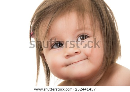 portrait of adorable smiling brunette baby girl isolated on white - stock photo