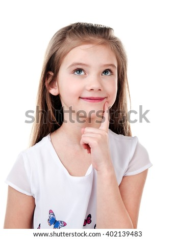 Portrait of adorable thinking little girl isolated on a white - stock photo