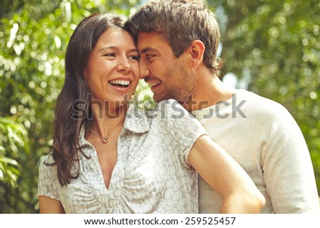 Portrait of affectionate lovers - stock photo