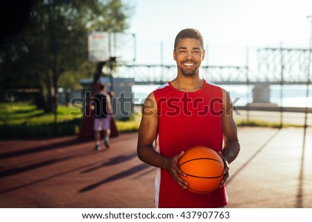 Portrait of african american basketball player. - stock photo