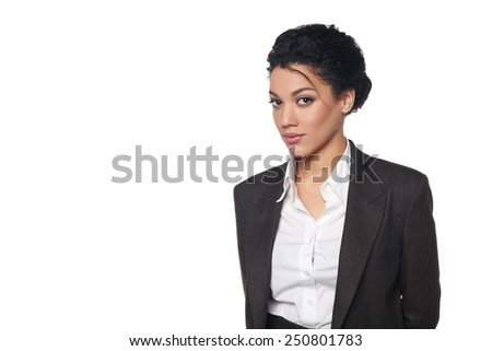 Portrait of african american business woman looking serious and confident, over white background - stock photo
