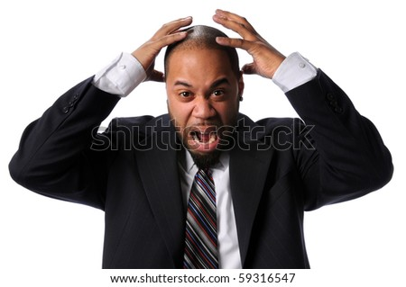 Portrait of African American businessman expressing frustration isolated over white background - stock photo