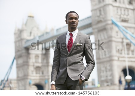 Portrait of African American businessman in London - stock photo
