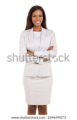 portrait of african american businesswoman isolated on white background - stock photo