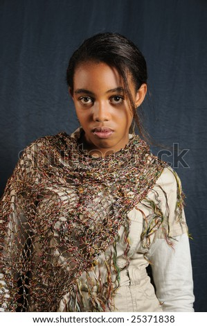 Portrait of african american fashion teen girl posing - stock photo