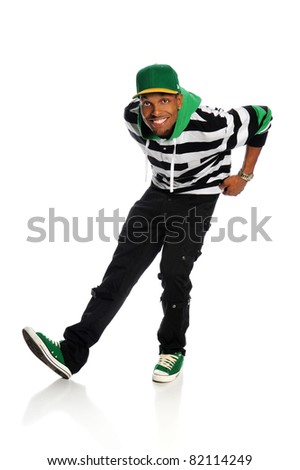 Portrait of African American hip hop dancer isolated over white background - stock photo