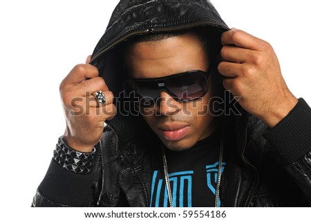 Portrait of African American man with sunglasses isolated over white background - stock photo