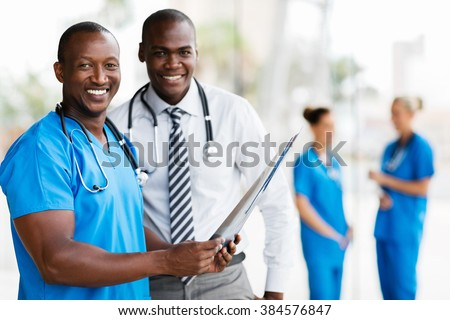 portrait of african american medical workers working together - stock photo