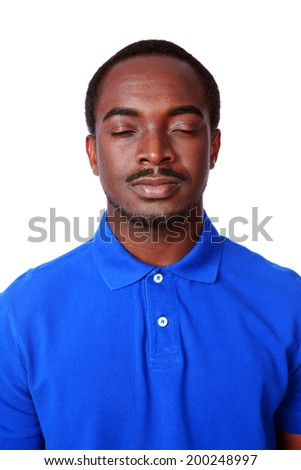 Portrait of african man with eyes closed isolated on white background - stock photo