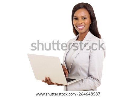 portrait of afro american businesswoman using laptop computer - stock photo