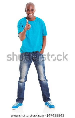 portrait of afro american man giving thumb up over white background - stock photo