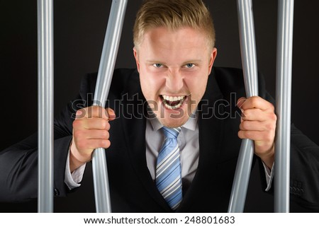 Portrait Of Aggressive Businessman In Jail Bending Bars - stock photo