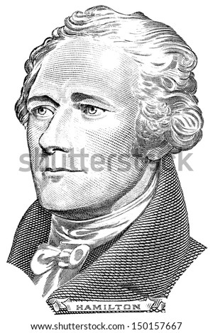 Portrait of Alexander Hamilton in front of the ten dollar bill - stock photo