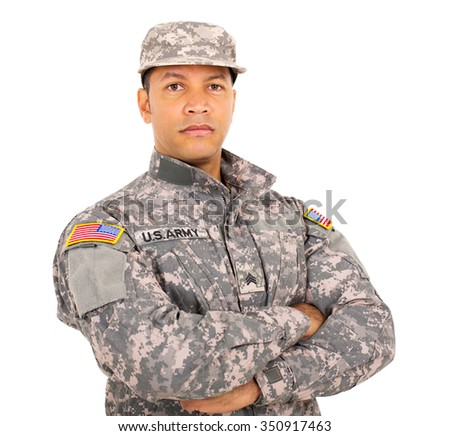 portrait of american military soldier with arms crossed - stock photo