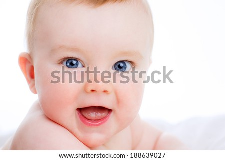 Portrait of an adorable boy. smile. happy kid. isolated on white background - stock photo