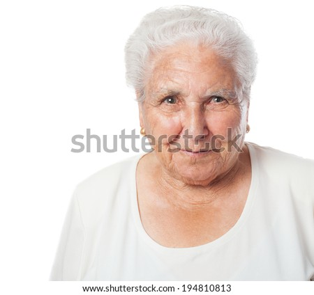 portrait of an adorable old woman face closeup - stock photo