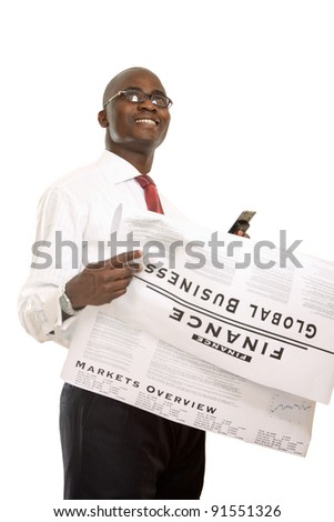 Portrait of an african american businessman reading newspaper , isolated on white background - stock photo